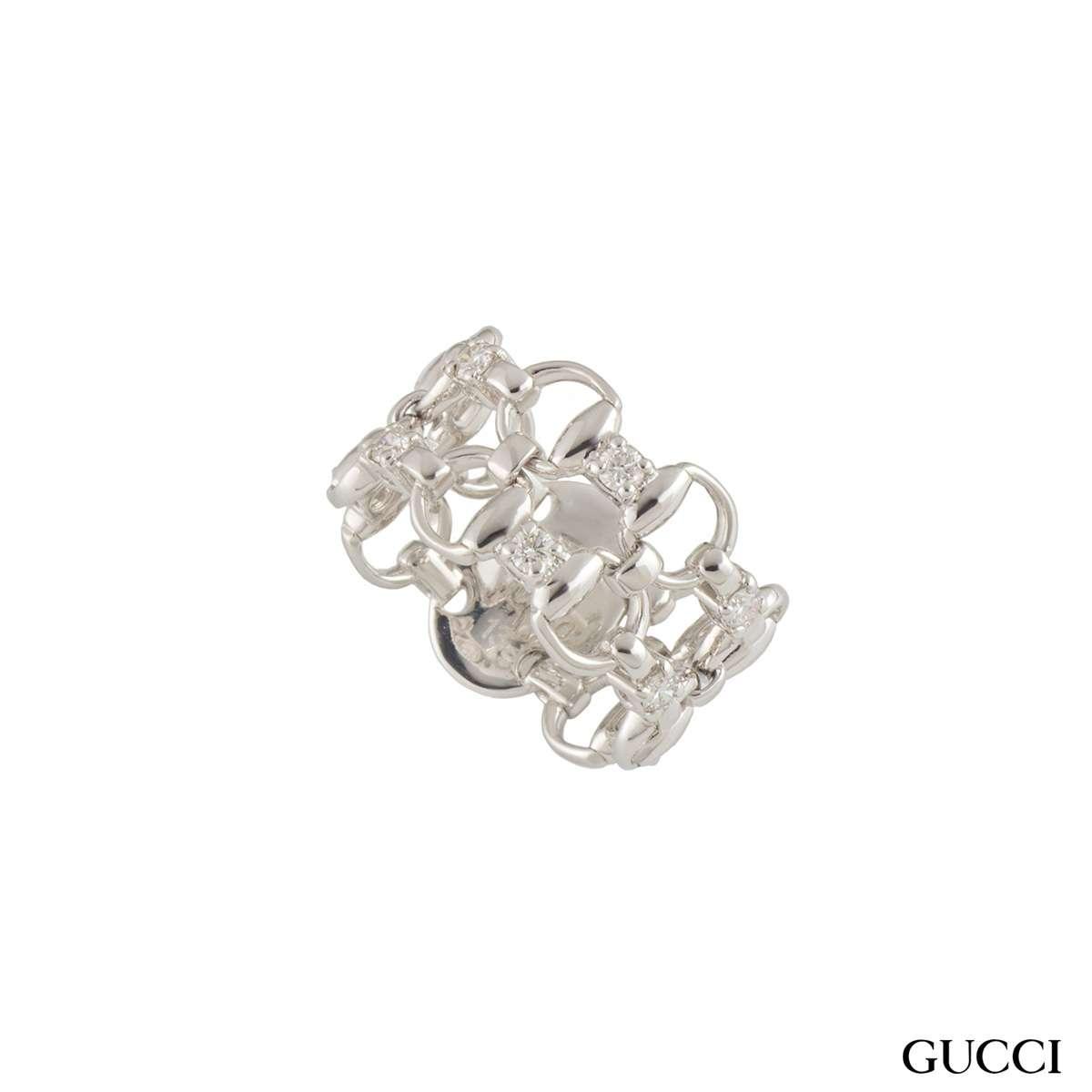 Gucci White Gold Horsebit Ring